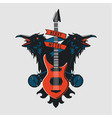 rock music emblem vintage sign with guitar vector image vector image