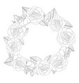 rose flower wreath outline vector image vector image