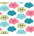 seamless pattern with cute smiling colorful vector image