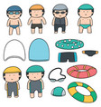 set of swimmer and swimming accessories vector image vector image