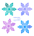 set watercolor snowflakes vector image vector image