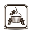 silhouette square button with cupcake and leaves vector image vector image