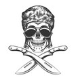 skull with machete vector image vector image