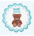 Teddy bear of baby shower card design vector image vector image