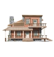 two-storey wooden cottage with stone facade decor vector image