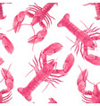 watercolor sea life lobster pattern vector image
