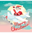 Waving Santa Claus flying on the plane with sack vector image vector image