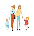 young friends moms walking together with their vector image vector image