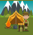 young scout in the camping zone scene vector image vector image