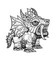 Hand draw ornamental dragon outline vector image