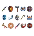 Viking Cartoon Weapon and Equipment Game icons vector image