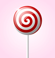 sweet glossy lollipop isolated on pink background vector image