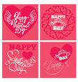 4 cards valentines day 380 vector image