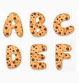 Alphabet on cookies design vector image