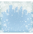 Background with snow flakes and city silhouette vector image