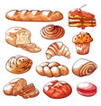bakery and pastry products hand drawn set vector image vector image
