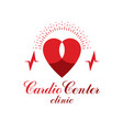 cardiology conceptual logo created with red heart vector image