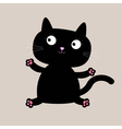 Cartoon black sitting cat Funny collection vector image vector image