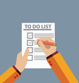 Checking on To Do List Top View vector image
