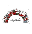 Christmas card with winter city sketch for your vector image vector image