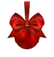 christmas red ball with bow on a white vector image vector image