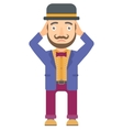 Circus actor clutching his head vector image vector image