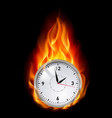 clock in fire on black background for design vector image