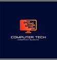 computer technology logo template designs vector image vector image