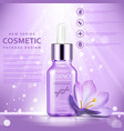 cosmetic ads template essence bottle with flower vector image vector image