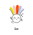 creative shining sun with rainbow funny design vector image vector image