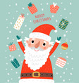 cute card with santa and christmas gifts vector image vector image