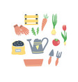 cute set gardening elements cartoon style vector image