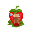 fairy house in form of red ripe strawberry and vector image vector image