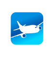 flying airplane blue rounded square icon design vector image