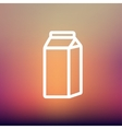 Fresh milk in a box thin line icon vector image