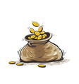 full sack with gold coins vector image