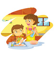 Girl helping mom doing dishes vector image vector image