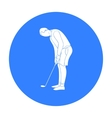 Golfer before kick icon in black style isolated on vector image vector image
