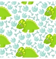 Green dinosaur seamless pattern vector image