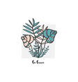 hand drawn botanical different vector image
