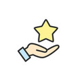 hand holds star feedback flat color line vector image