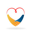 heart handshake agreement vector image