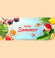 hello summer poster tropical fruits leaves vector image vector image