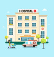hospital flat design with ambulance car and woman vector image vector image
