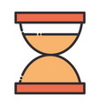 hourglass clock time line and fill design icon vector image