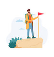 man having journey on nature standing on cliff vector image vector image