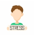 Man holding stress word poster icon cartoon style vector image vector image