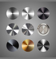 metal conical gradients button set vector image vector image