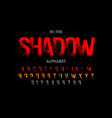 modern font with shadow effect alphabet letters vector image vector image