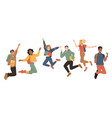 multicultural students jumping happiness success vector image